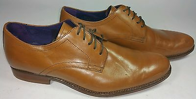 Next Mens Italia Tan Leather Plain Derby Shoes. size 8. RRP £75. WORN TWICE