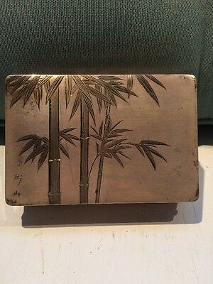 """Vintage 3x4"""" Silver Plated Oriental Hand Etched Signed Trinket Jewelry Box"""