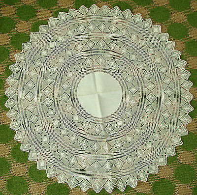 """Lovely Antique Armenian Lace and Linen Doily, Center Piece - 24"""" Knotted Needle"""