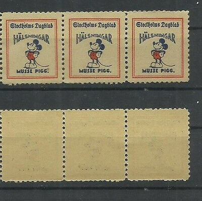 Disney Mickey Mouse Musse Pigg Rare 1930s Sweden Key Stamp for Any Collection