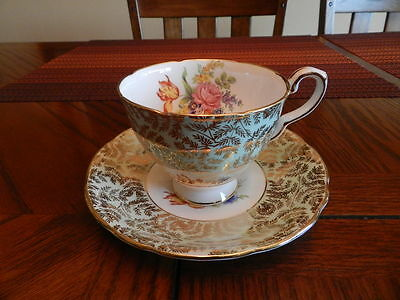 Royal Stafford Cup & Saucer Mint Green Tint, Gold & Floral Pattern England