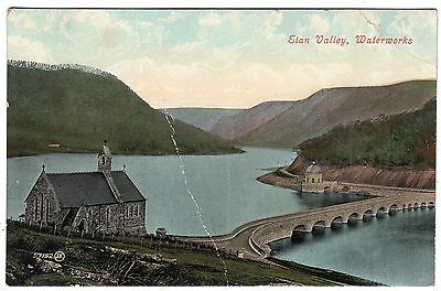 Postcard Waterworks & Reservoir Elan Valley Radnorshire Wales