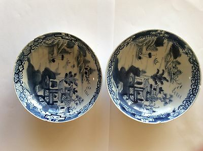 Pair Of Chinese Dishes Blue And White