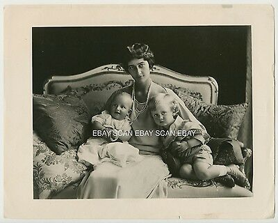 Royalty Princess Sophie Of Saxony Luxembourg With Sons Vintage Portrait Photo