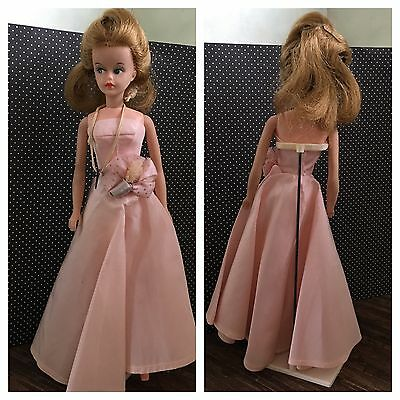 Vintage American Character Tressy Doll w/ Pink Strapless Evening Gown and Stand