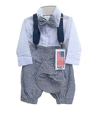 New Baby Boys Charcoal White Seersucker Knickers Outfit Suit Striped Easter