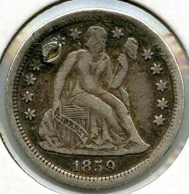 1859-O Seated Liberty Dime - New Orleans Mint AF699
