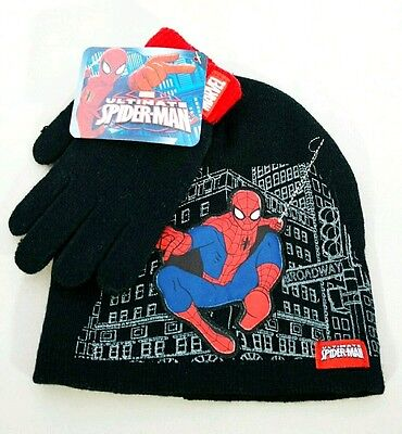 "Marvel Ultimate SPIDERMAN Black & Red Hat Gloves Set  ""NEW"""