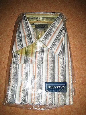 VINTAGE MERCEDES MENS BROWN  STRIPES TYPE SHIRT Still in original wrapping 15.5