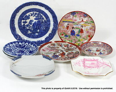 8-PC VINTAGE CHINA SAUCERS - Occupied Japan, Allertons Blue Willow England