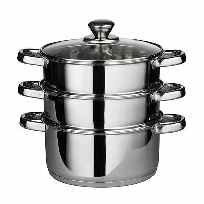 Premier Housewares Stainless Steel Steamer with Glass Lid