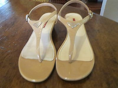 Prada Beige Patent Leather Sandals 39 - Euc!!!