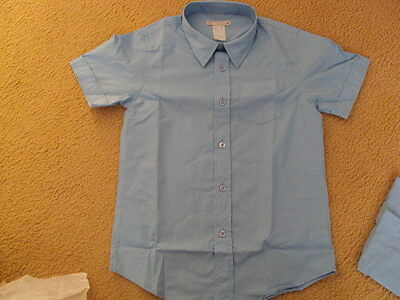 Boys Short Sleeve School Shirt Sky Blue Size 8 New
