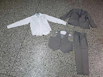Boys size 14 husky gray 3 piece suit EUC w/ sz 20 white shirt