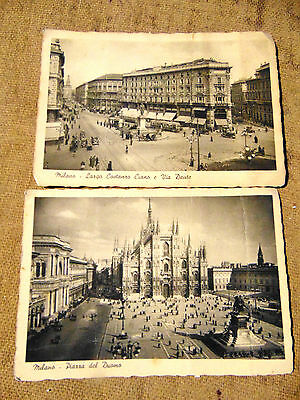 2 Vintage black and white postcards featuring views of Milan all unused