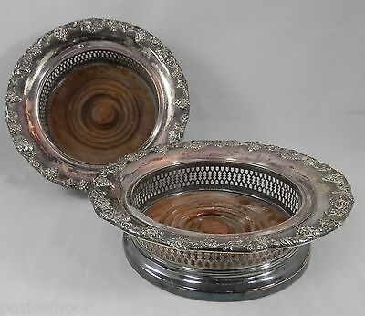 PV01969 Lawrence B Smith LBS Co Boston MA Silverplate Magnum Coaster- SET OF 2
