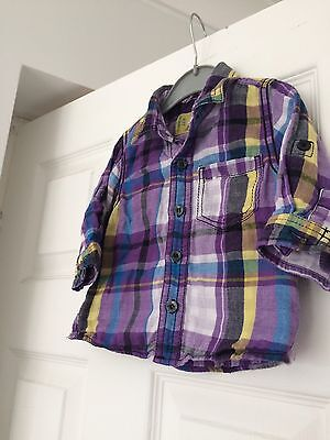 Boys Purple Checked Shirt Age 6-9 Months From Next