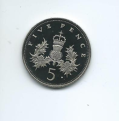 1985 Royal Mint Proof  5p taken from a Royal Mint Proof Set.