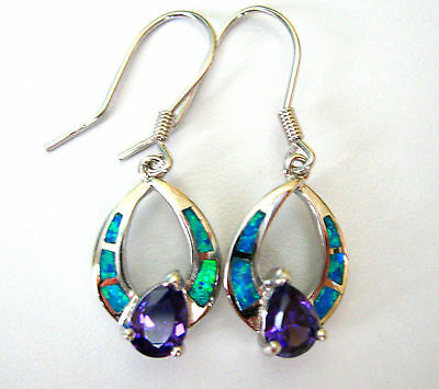Blue fire opal inlay and amethyst stone in 925 sterling silver earrings