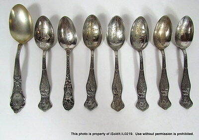 8 SOUVENIR SPOONS Silverplate, Sterling Silver 1901 PAN-AM Exposition Buildings
