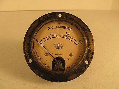 Roller Smith Gauge Amperes D.C. Full 1-1.5 Used Steampunk