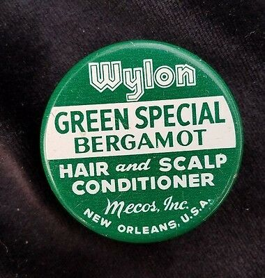 Old Sample Tin Wylon Green Special Bergmot Hair Conditioner Mecos New Orleans