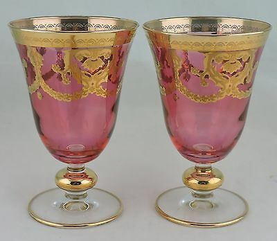 Cranberry Wine/water Glass Gold Floral Garland Pair Stemware Barware Glassware
