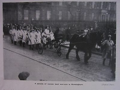 1918 Wwi Ww1 Print ~ A Parade Of Women Land Workers In Birmingham