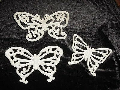 Set Of 3 WHITE BUTTERFLY WALL PLAQUES  USA Homco Home Interior