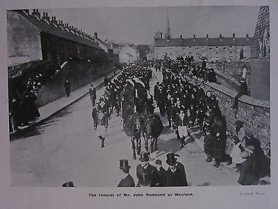 1918 Wwi Ww1 Print ~ The Funeral Of Mr John Redmond At Wexford