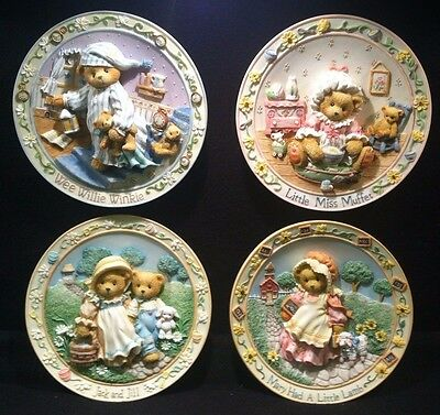 1990's CHERISHED TEDDIES LOT - NURSERY RHYME PLATES - EXCELLENT IN BOXES