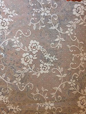 2 Vintage White Victorian Floral Cameo Baroque Lace Sheer Curtain Panels 60x65