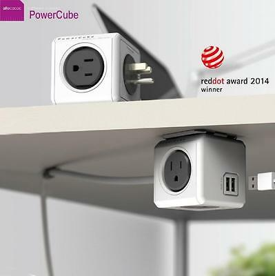 Allocacoc PowerCube Extended 4 Outlets and 2 USB Ports 1.5M - One Cube Grey 2019