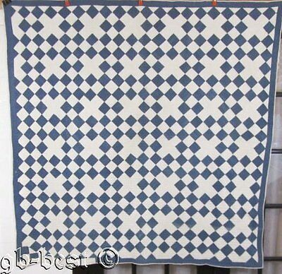 Antique c 1890s Blue white Patch Quilt INDIGO Blue Pennsylvania