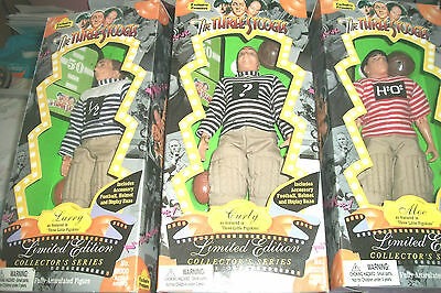 """3 STOOGES FIGURES   Larry   Curly   Mo as Featured in """"Three Little Pigskins"""""""