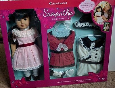 NEW American Girl Samantha Doll & Book Holiday Party Dress Outfit Fancy Coat Set