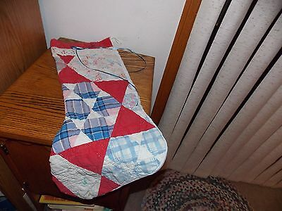 Handmade Christmas Stocking Quilt Piece Lace