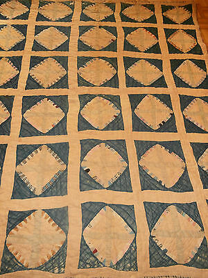 "Antique 1800's Crossroads pattern quilt 68"" x 77"" indigo blue dye, Homespun back"