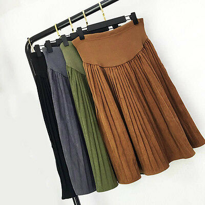 Pregnant Women Pleated Skirt Belly Support Midi Skirts Casual Maternity Clothing