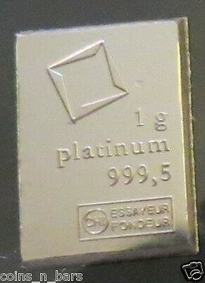 1 Gram PLATINUM BAR~VALCAMBI SA SUISSE ~999.5 Pure Platinum Bar~Lookers Welcome