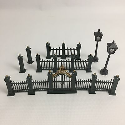 Dept 56 Christmas Village Lot Victorian Wrought Iron Fence Gate Lanterns