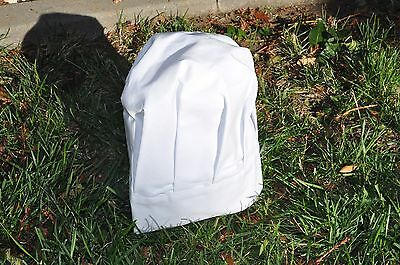 Chef Hat Baker White Cloth  Velcro Closure One Size Fits All Euc