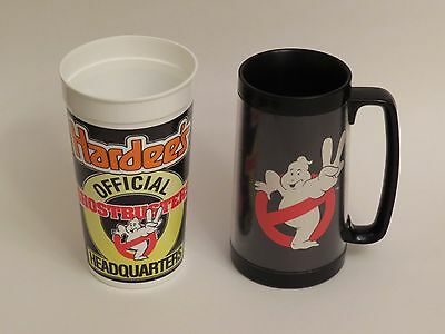 Lot of 2 Vintage Ghostbusters cups 1980s Ghost Busters mug Hardees collectible