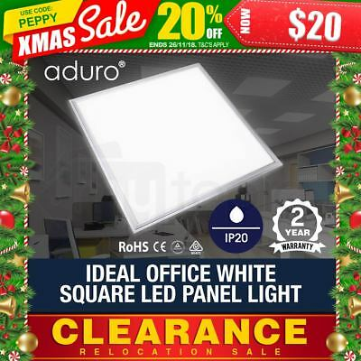 NEW ADURO LED Square Panel Light 600x600mm Flat White Office Ceiling