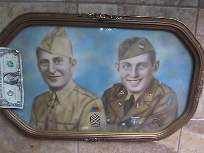 """Huge 21"""", Nicely DOME FRAMED Photo, WWII BROTHERS in Uniform,Tank Soldiers, GIFT"""