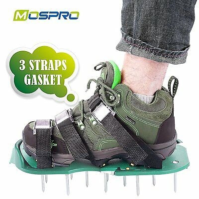 Lawn Aerator Shoes, Mospro Spikes Aerator Sandals Heavy Duty Spiked Shoes Each 3