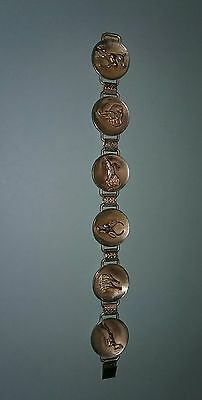 "Vintage Silver Plated Simba Africa Handmade Bracelet 7 3/8"" 19CM Animals"