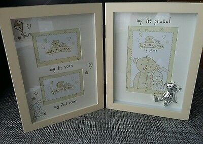 BUTTON CORNER 1st / 2nd Scan & My 1st Photo Multi Picture Frame. NEW BABY GIFT