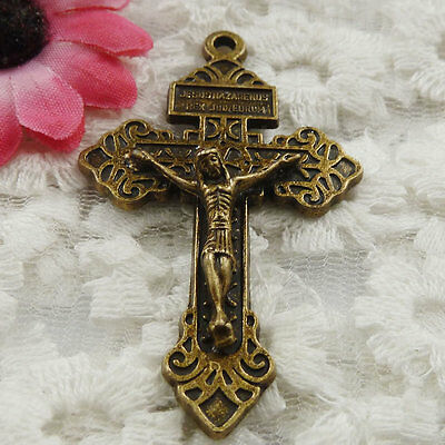 Free Ship 10 pieces bronze plated cross pendant 56x34mm #1822