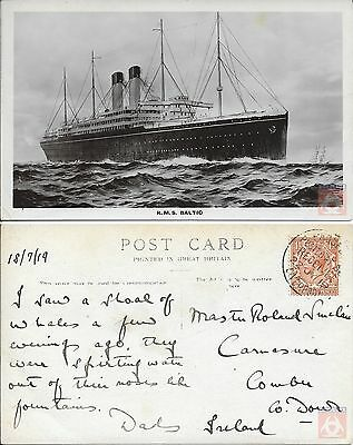 Angleterre - Carte Postale PAQUEBOT - BALTIC - Posted at Sea 1919 - Liverpool